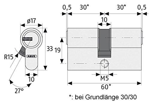 f/ür DIN-links T/üren ABUS T/ür-Einsteckschloss Profilzylinder TKZ20 silber 21038 /& Profil-Zylinder Buffo 30//30 12127